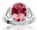 <em> 10K Garnet & Diamond Ring; 0.12 ct</em>