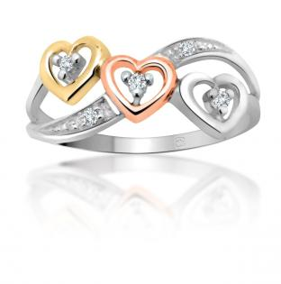 <em> 10K Diamond Ring with Gold, White Gold and Rose Gold Hearts; $279 </em>